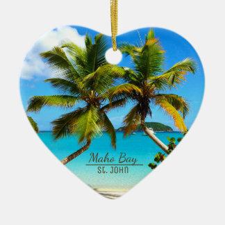 Het Strand St. John Ornaments van de Baai van Maho Keramisch Hart Ornament