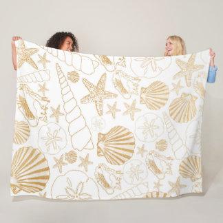 Het strand themed decor, gouden zeeshell patroon fleece deken