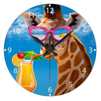 Het strand van de giraf - grappige giraf grote klok