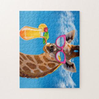 Het strand van de giraf - grappige giraf puzzel