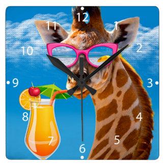 Het strand van de giraf - grappige giraf vierkante klok