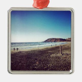 Het Strand van de Staat van Pacifica Zilverkleurig Vierkant Ornament