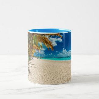 Het strand van Domenicana Tweekleurige Koffiemok