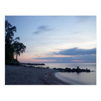 Het Strand van Erie van het meer in Avond Briefkaart