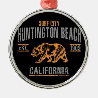 Het Strand van Huntington Zilverkleurig Rond Ornament