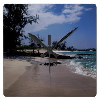 Het Strand van Makalawena Vierkante Klok