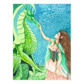 het strelen van de smaragdgroene draak briefkaart