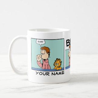 """Het Stripverhaal van Garfield van de """"oprisping"""" Koffiemok"""