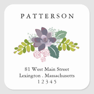Het succulente BloemenEtiket van het Adres van de Vierkante Sticker