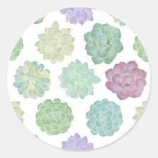 Het succulente Patroon van de Tuin Ronde Sticker