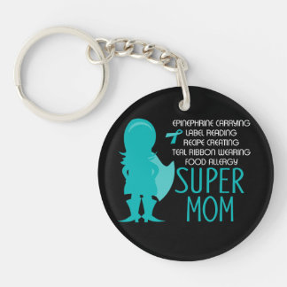 Het Super Mamma van de blauwgroen van het Silhouet Sleutelhanger