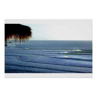Het surfen Golven die in het Poster van Bali breke