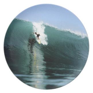 Het surfen grote groene extreme het surfen golf diner borden