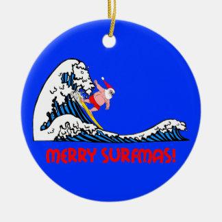 Het surfen Kerstman Rond Keramisch Ornament
