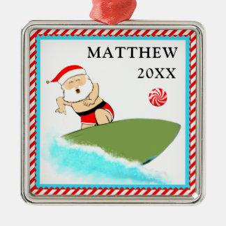 Het surfen Kerstman Zilverkleurig Vierkant Ornament