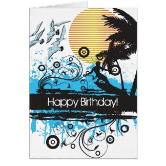 Het Surfen van Grunge de Gelukkige Verjaardag van Kaart