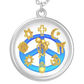 Het Symbool dat van de vrede Alle Godsdiensten van Zilver Vergulden Ketting
