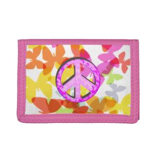 Het Symbool en de Vlinders van de vrede Drievoud Portemonnee