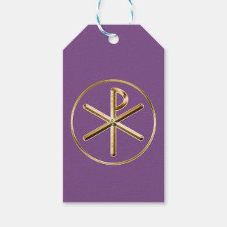 Het symbool van chi-Rho Cadeaulabel