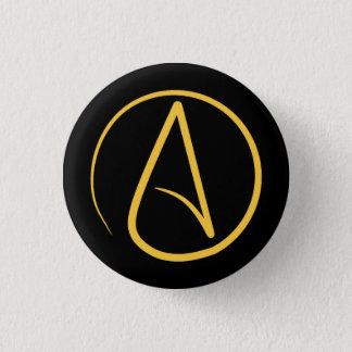 Het symbool van de atheïst: geel op zwarte ronde button 3,2 cm