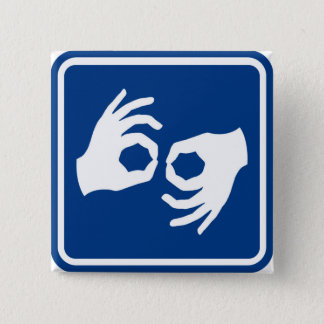 Het Symbool van de gebarentaal Vierkante Button 5,1 Cm