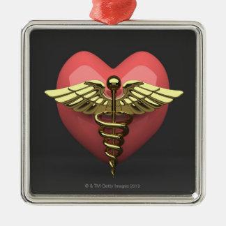 Het symbool van het hart met medisch symbool zilverkleurig vierkant ornament