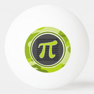 Het symbool van pi; heldergroene camo, camouflage pingpongbal