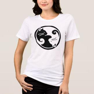 Het T-shirt van de Katten van Yin Yang van vrouwen