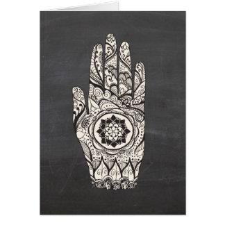 Het Tattoo van de Hand van de henna met de Bloem Briefkaarten 0