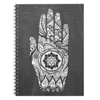 Het Tattoo van de Hand van de henna met de Bloem Ringband Notitieboek