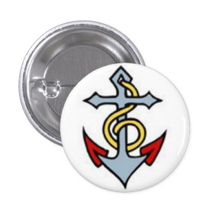 Het Tattoo van de zeeman - Anker - Knoop Ronde Button 3,2 Cm