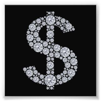 Het Teken Bling van de Dollar van de diamant Foto Afdruk