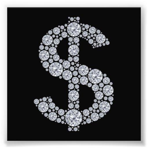 Het Teken Bling van de Dollar van de diamant Fotoafdrukken