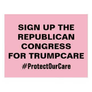 Het teken op Congres voor TrumpCare beschermt Onze Briefkaart