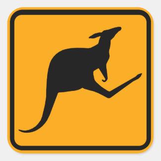 Het Teken van Australië van de kangoeroe (pak van Vierkante Sticker