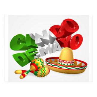 Het Teken van Cinco DE Mayo met Sombrero en Briefkaart