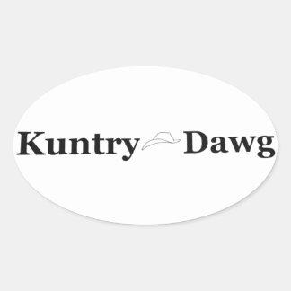 Het Teken van Dawg van Kuntry op Overdrukplaatje Ovale Sticker