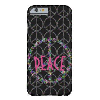 Het Teken van de Vrede van de bloem op Zwarte Barely There iPhone 6 Hoesje
