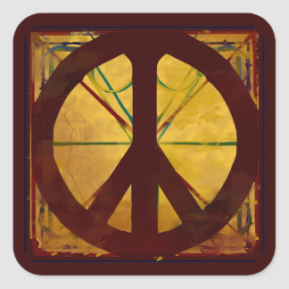 Het Teken van de Vrede van de Stijl van Da Vinci Vierkante Sticker