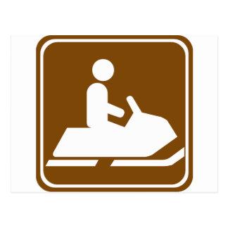 Het Teken van de Weg van de Sleep van Snowmobiling Briefkaart