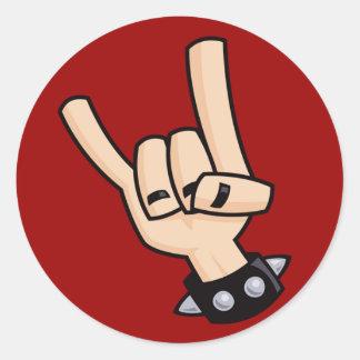 Het teken van de zwaar metaalhand ronde sticker