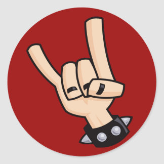 Het teken van de zwaar metaalhand ronde stickers
