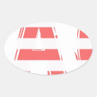 Het Teken van het strand - strepen Ovale Sticker