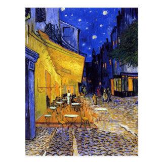 Het Terras van de koffie bij Nacht door Vincent Briefkaart