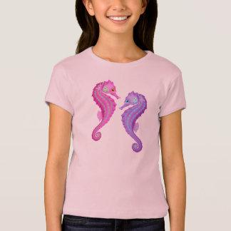 Het Thema Roze en Paarse Seahorses van het strand T Shirt