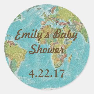 Het themastickers van de reis voor baby shower ronde sticker