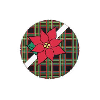 Het Tin van de Poinsettia van de plaid Jelly Belly Snoepblikjes