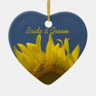 Het Toenemende Huwelijk van de zonnebloem Keramisch Hart Ornament
