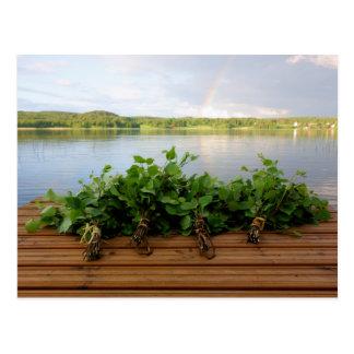 Het traditionele Finse bad zwaait briefkaart