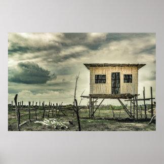 Het traditionele Huis van het Riet, Ecuador Poster